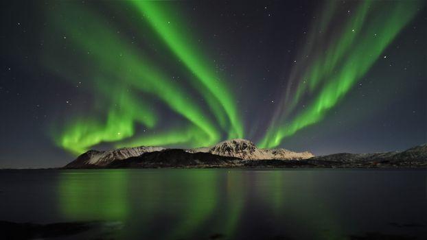 Photo free aurora, northern lights, beach