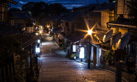 Photo free japan traditional houses, street, light