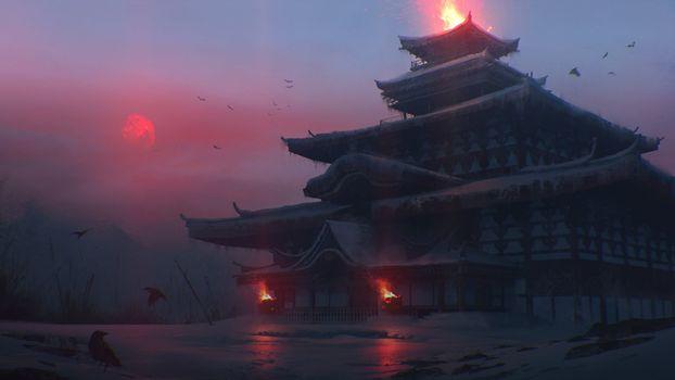 Заставки Японское здание, храм, пламя