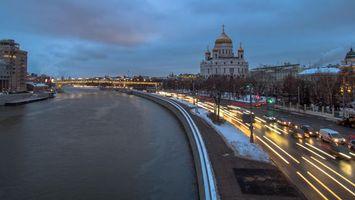 Фото бесплатно Moscow river embankment, река, трасса