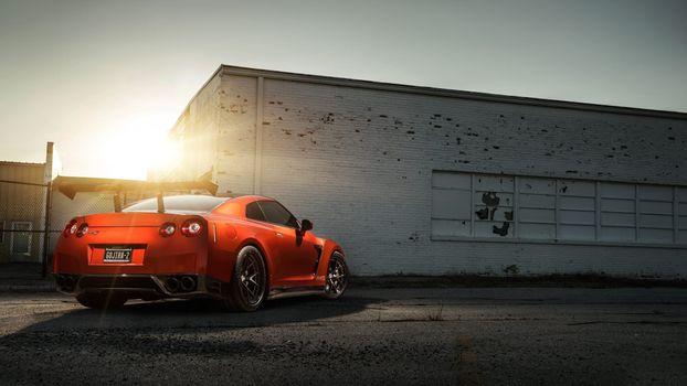 Photo free sunset, automobiles, Nissan GTR