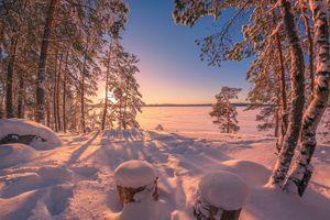 Заставки замерзшее озеро, пейзаж, природа