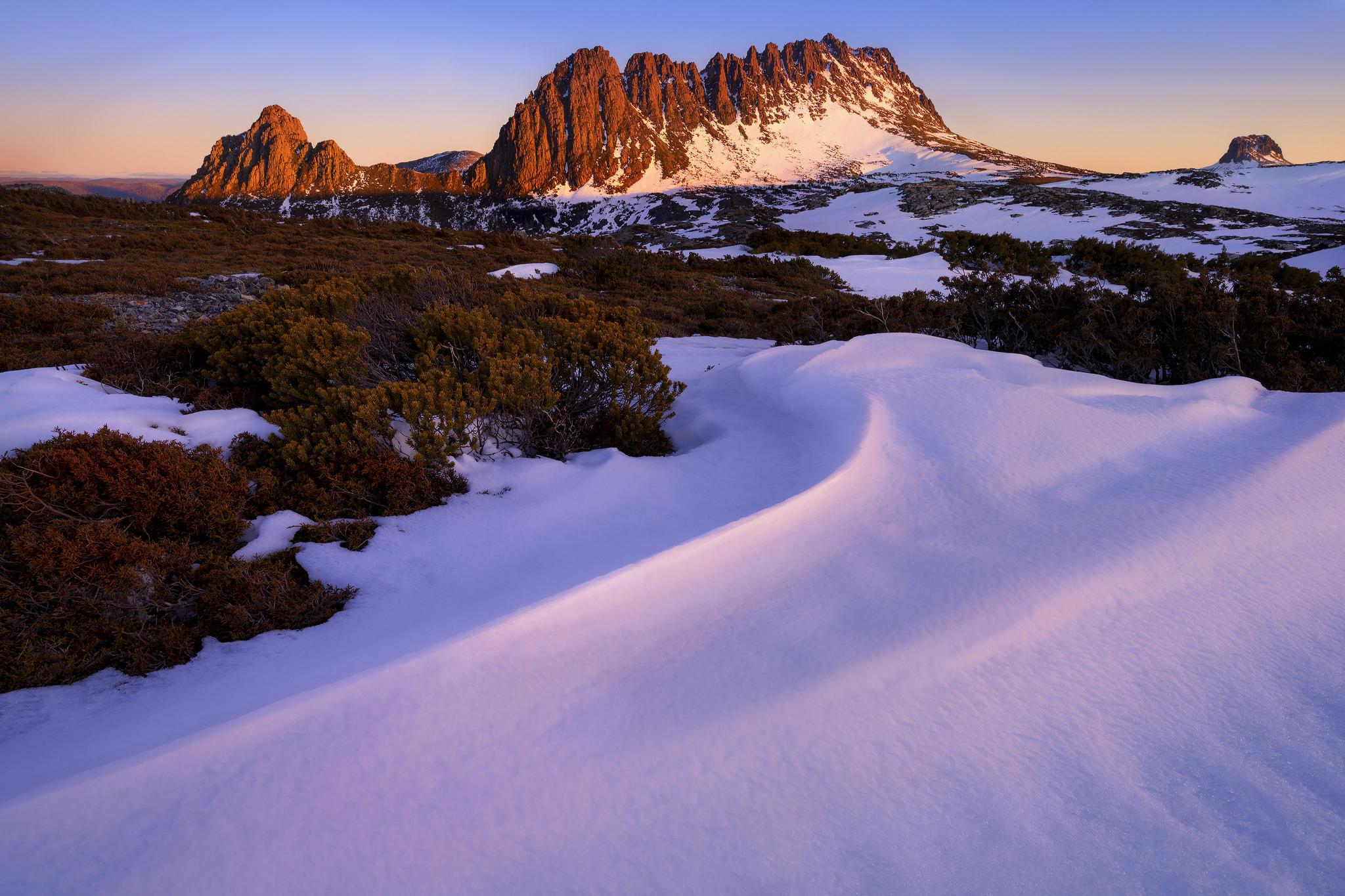 Зимний закат, национальный парк, Лейк-Сент-Клэр-Крэдл-Маунтин, Тасмания
