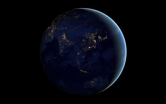 Фото бесплатно планета, ночная сторона, огни