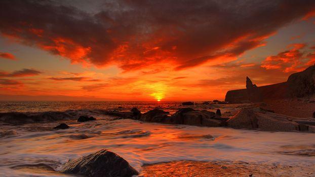 Фото бесплатно закат, красное небо, океан