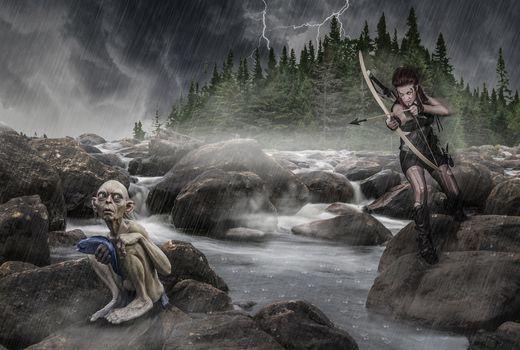 Photo free Archer and Golum, fantasy, rain