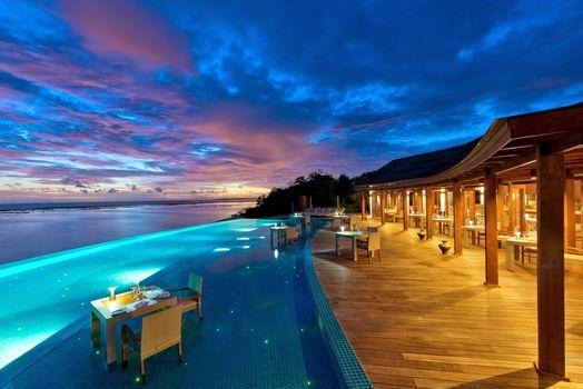 Фото бесплатно вечер, Мальдивы, курорт