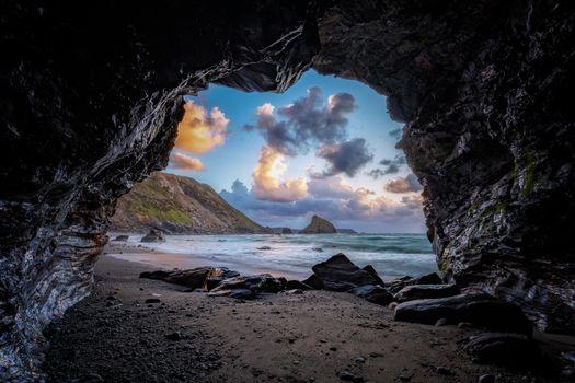 Фото бесплатно закат, скала, арка