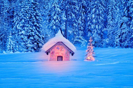 Фото бесплатно Часовня рядом с Эльмау, Бавария, зима