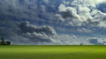 Фото бесплатно поле, закат, небо