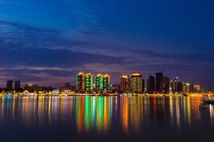 Фото бесплатно ночной город, панорама, небоскребы