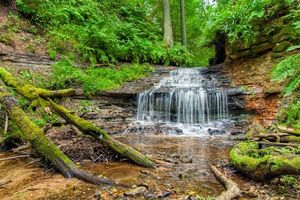 Заставки водопад, скалы, лес, деревья, природа