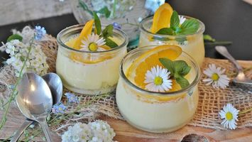 Бесплатные фото десерт,крем,апельсин,дольки