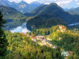 Бесплатные фото Хоэншвангау,Bavaria,Германия,горы,озеро,дома,замок
