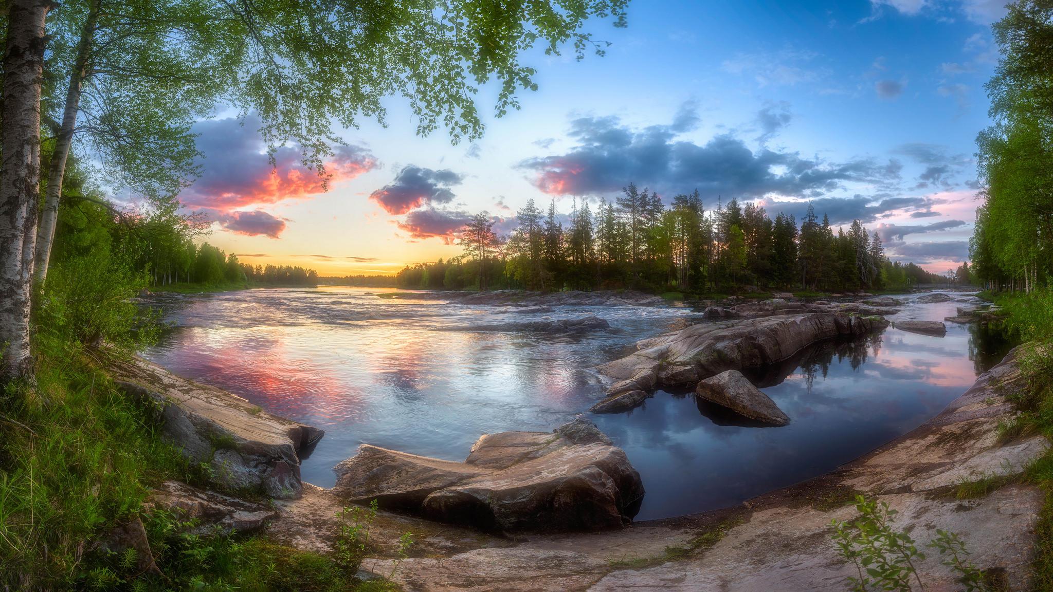 закат, река, камни, берег, деревья, пейзаж