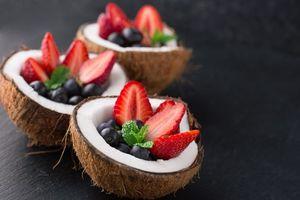 Фото бесплатно ягоды, какос, клубника