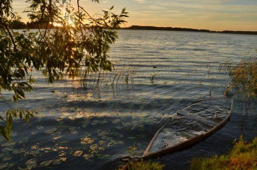 Бесплатные фото закат,озеро,лодка,пейзаж