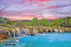 Бесплатные фото Сьюдад-Реале, Испания, Лагуны Руйдера водоём, водопад, закат, деревья, лодка