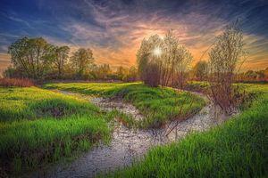 Бесплатные фото Московская область, Россия, Подмосковье, закат, деревья, водоём, канава