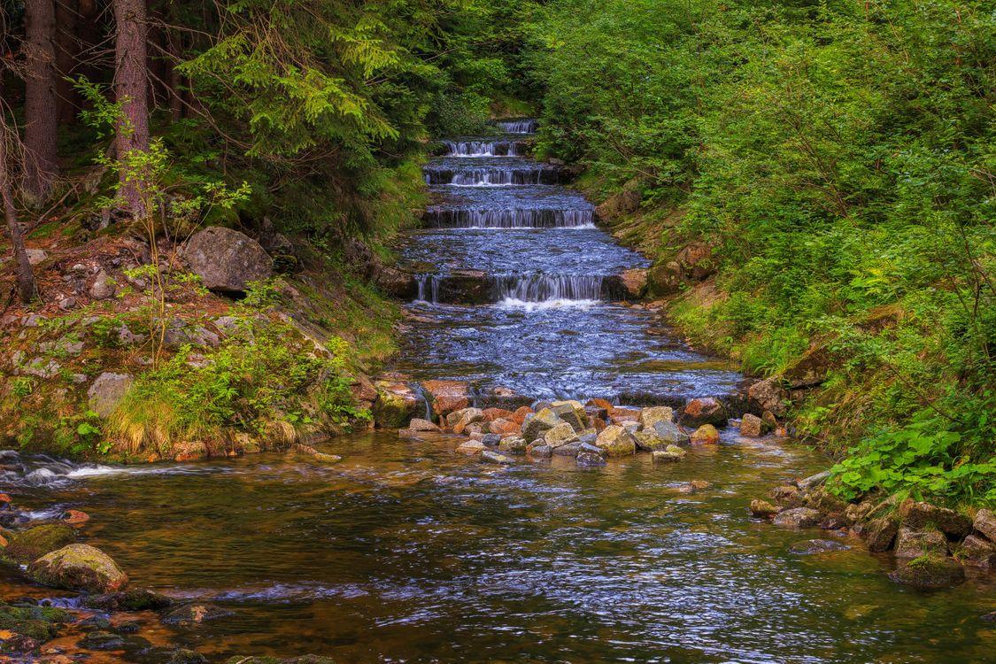 Обои Загородный пейзаж, Чехия, водопад картинки на телефон