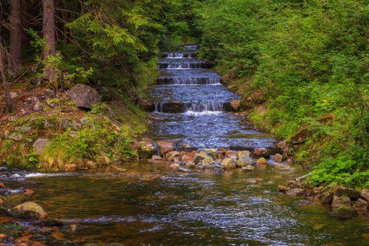 Бесплатные фото Загородный пейзаж,Чехия,водопад,камни,лес,парк,деревья,каскад,течение,пейзаж