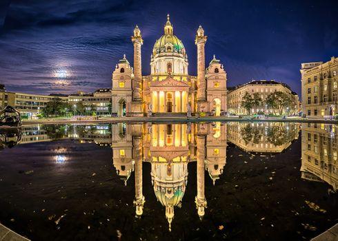 Photo free Karlskirche, Vienna, Austria at night