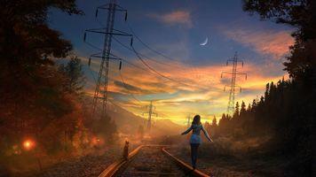 Фото бесплатно закат, железная дорога, девушка