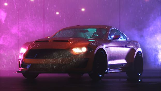 Photo free Ford Mustang, digital art, synthesizer