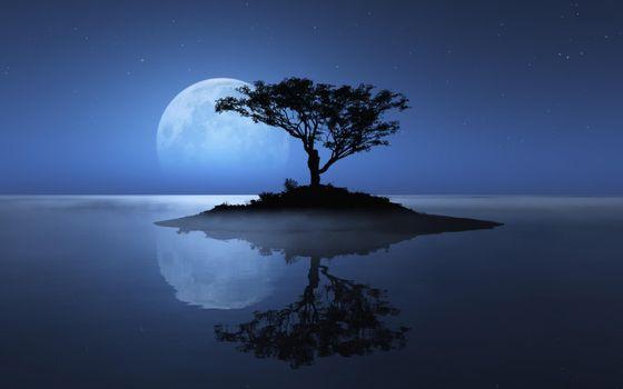 Заставки остров, небо, луна