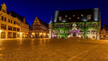 Бесплатные фото Кведлинбург,Германия,ночь,огни,иллюминация