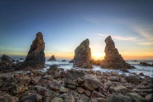 Бесплатные фото графство Донегал,Ирландия,закат,море,берег,скалы,пейзаж
