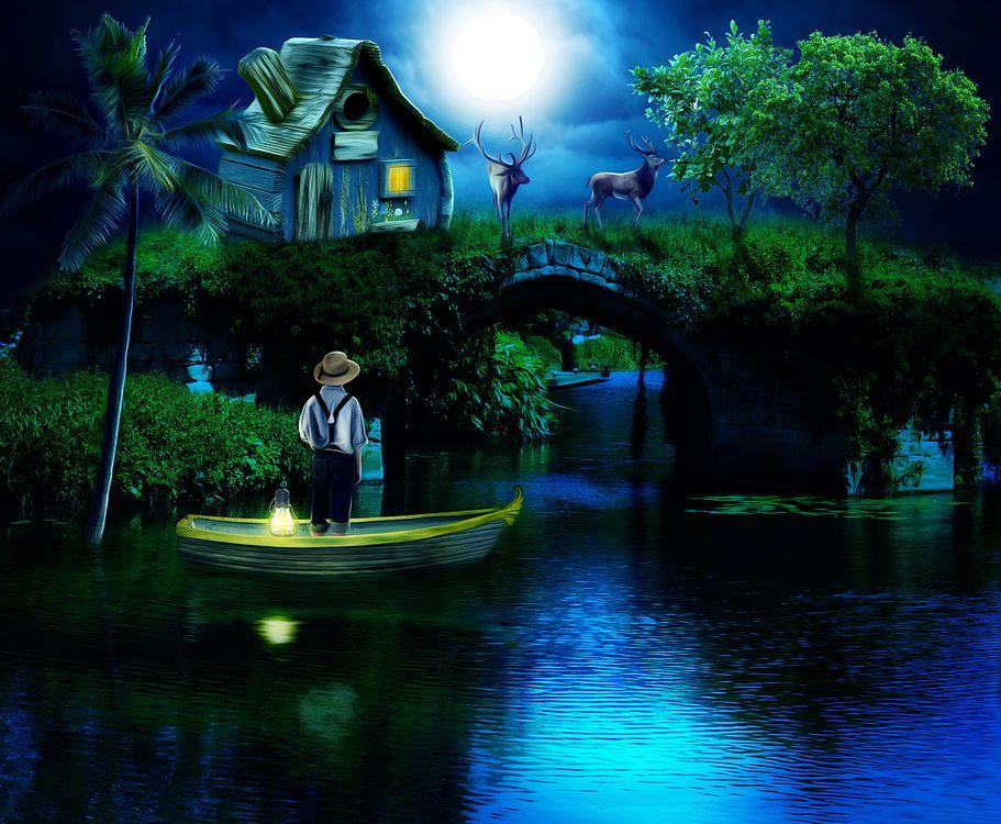 Картинка ночь, водоём, свечение, лодка, олени, домик, art, фантастика на рабочий стол. Скачать фото обои фантастика