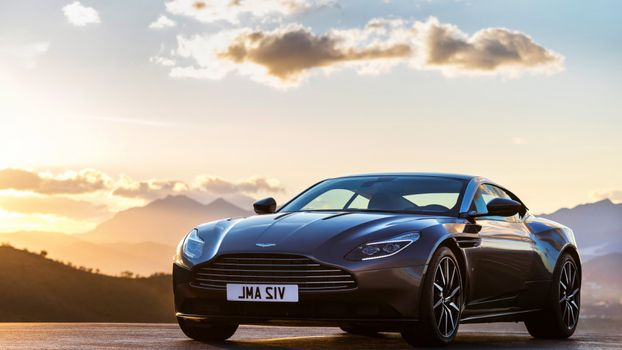 Photo free Aston Martin, sunset, mountains