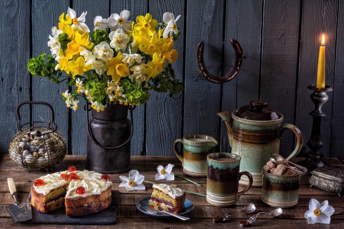 Фото бесплатно цветы, чайник, свеча - на рабочий стол