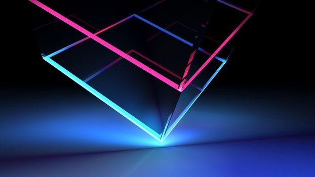 Заставки неоновый куб, углы, красочный
