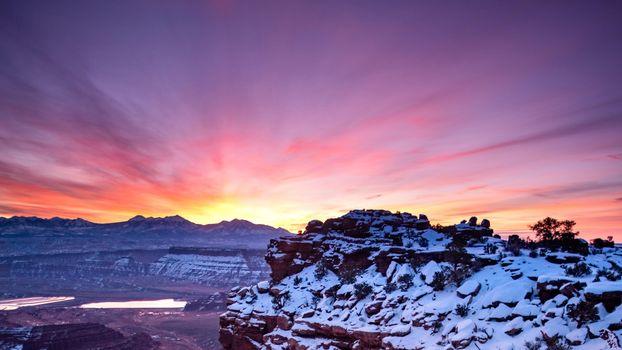 Photo free sunset, evening, snow