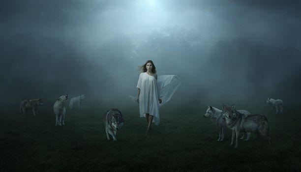 Заставки девушка, туман, фантазия