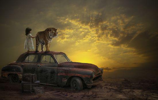 Фото бесплатно закат, автомобиль, девочка