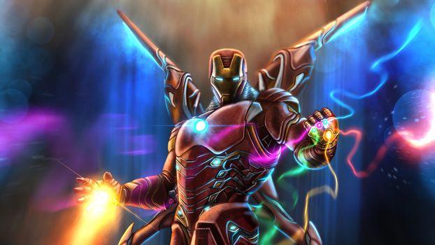 Фото бесплатно железный человек, супергерои, произведение искусства
