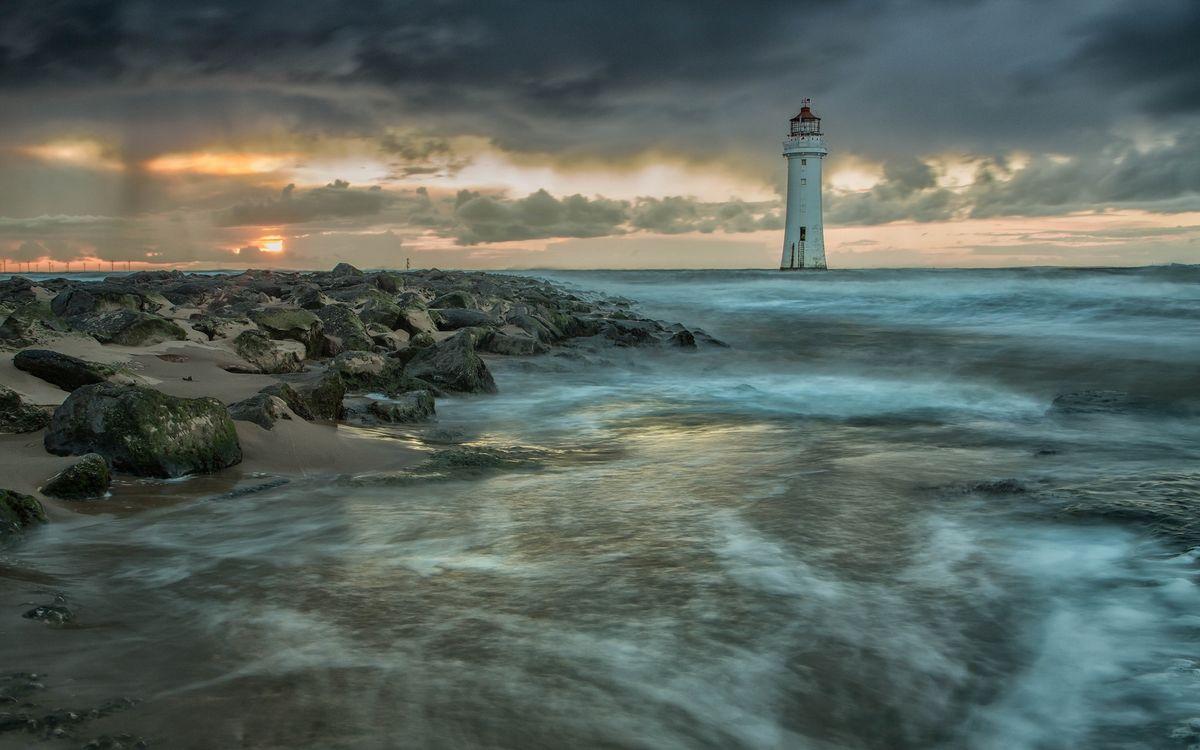 Фото Маяк океан скалы - бесплатные картинки на Fonwall