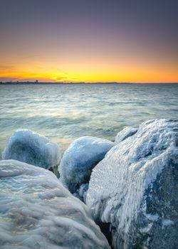 Фото бесплатно замороженные побережье, закат, небо
