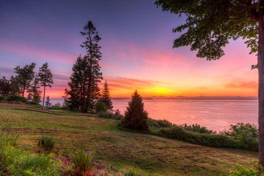 Заставки Пляж Эглон, Вашингтон, закат