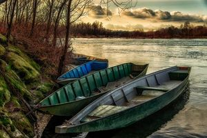 Фото бесплатно закат, река, лодки