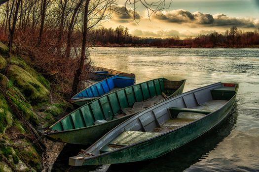 Заставки закат, река, лодки