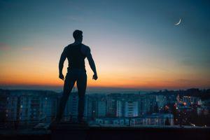 Заставки человек, силуэт, ночь, крыша, man, silhouette, night