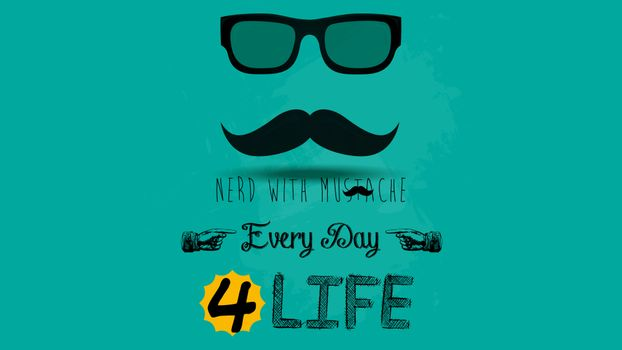 Photo free mustache, typography, comments
