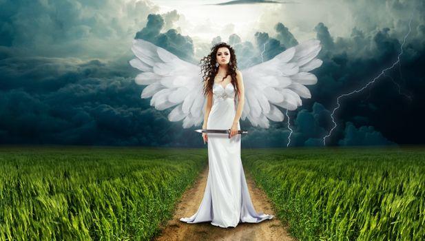 Бесплатные фото ангел,девушка,поле,дорога,фантазия,магический,рай,тучи,фотошоп,фантастика