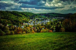 Бесплатные фото Гайзинген,Германия,закат,поле,город,горы,деревья