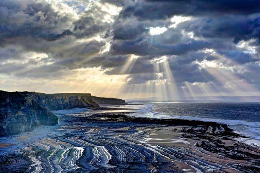 Заставки Пляж Гламорган, побережье Уэльс, солнечные лучи