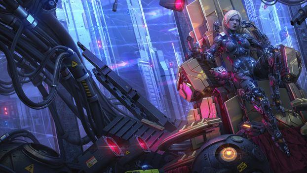 Заставки роботизированная девушка, киберпанк, фантастический мир